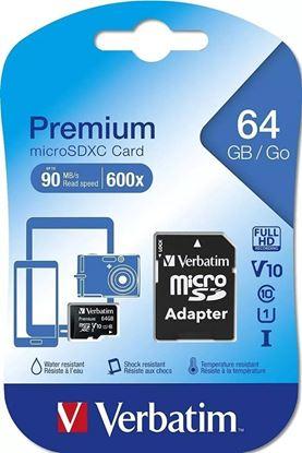 Imagen de microSD 64 GB  VERBATIM Clase 10 PREMIUM (90 Mb/s)